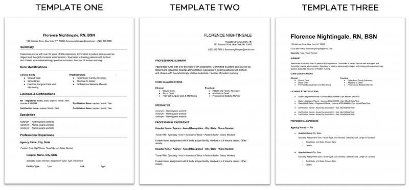 Nomad Health Nurse Resume Templates Examples