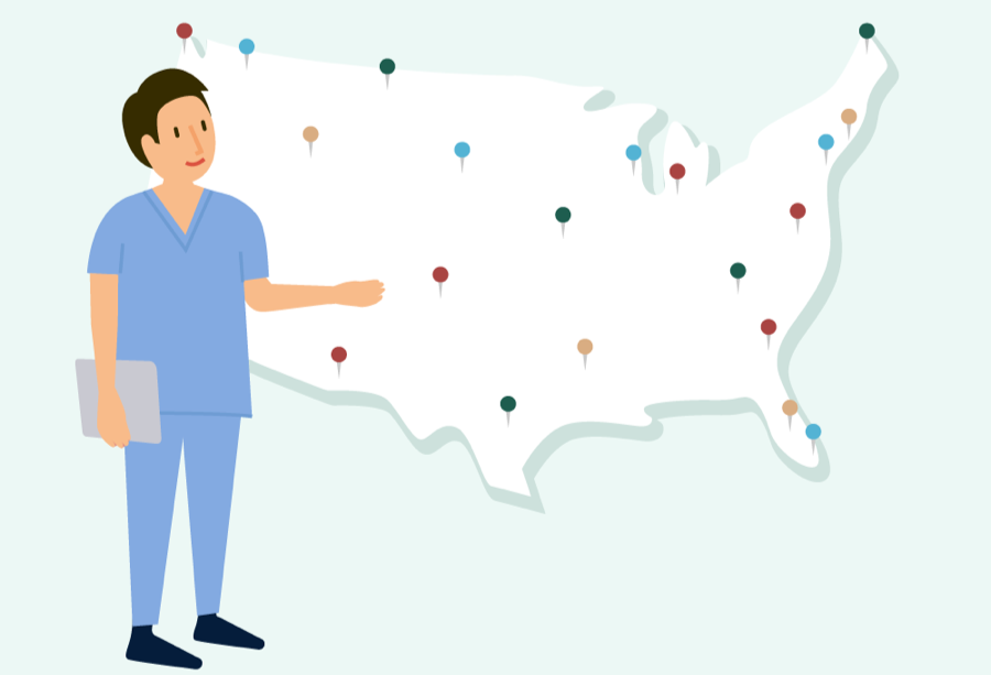 Nurse working in different locations